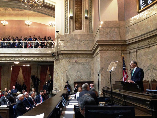Governor Jay Inslee addresses a joint session of the Washington legislature to give his 2016 State of the State address.