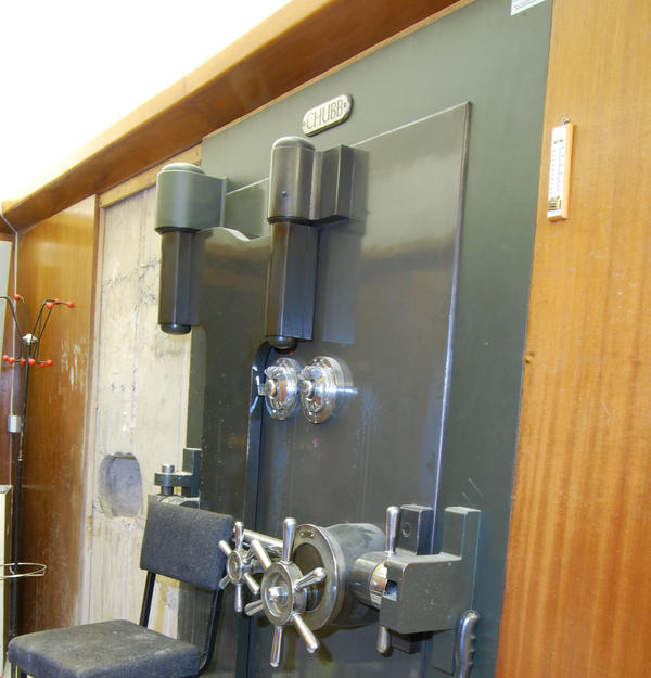 The vault door at Hatton Garden Safe Deposit Ltd. after the robbery.