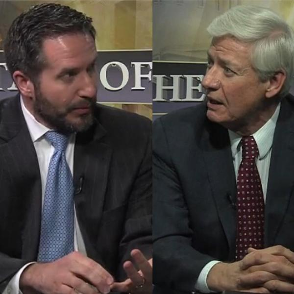(left to right) Todd Snitchler, Spokesperson for the Alliance for Energy Choice and Bill Ridmann, FirstEnergy Vice President of Rates and Regulatory Affairs