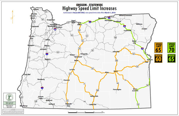 Map of roads affected by increase speed limits.
