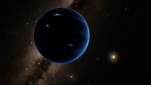 The imagined view from Planet Nine back toward the sun. Astronomers think the huge, distant planet is likely gaseous, similar to Uranus and Neptune.