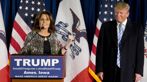 Former Alaska Gov. Sarah Palin endorses Republican Donald Trump for president in Ames, Iowa, on Tuesday.