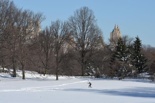 People ski in New York City's Central Park on Sunday.