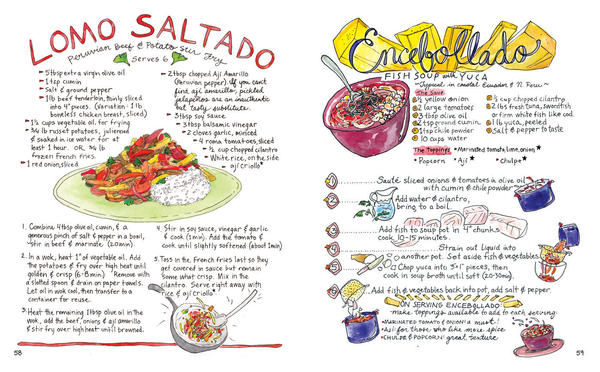 Illustrated recipes for <em>lomo saltado</em>, a Peruvian beef and potato stir fry, and e<em>ncebollado</em>, a fish soup with yuca that is typical in coastal Ecuador and northern Peru.