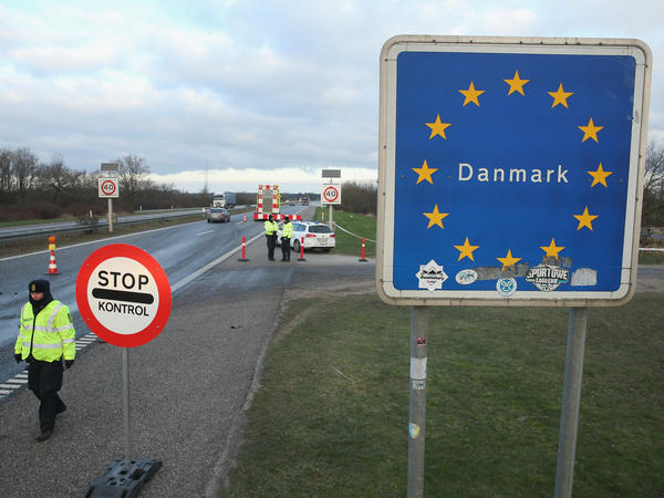 Danish police conduct spot checks on incoming traffic from Germany at a highway border crossing near Padborg, Denmark, on Jan. 6. Officials say they've been overwhelmed by the 20,000 asylum seekers who came to Denmark last year.