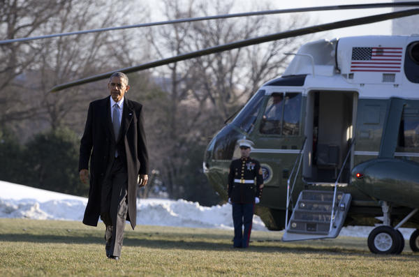 President Obama arrives at the White House on Monday, after a trip to Walter Reed National Military Medical Center in Bethesda, Md. Obama wrote an op-ed in Monday's <em>Washington Post </em>announcing new limits on the use of solitary confinement in federal prisons.