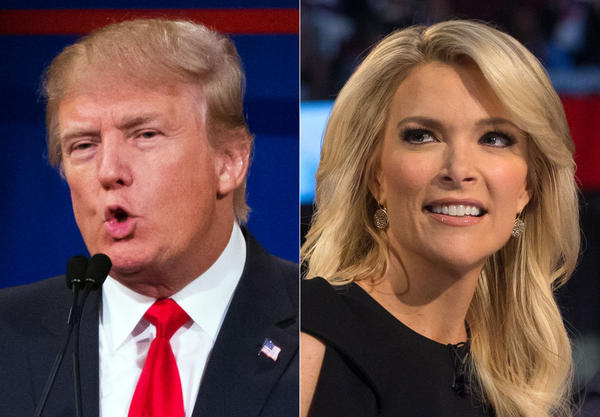This file photo combination made from Aug. 6, 2015, photos shows Republican presidential candidate Donald Trump, left, and Fox News Channel host and moderator Megyn Kelly during the first Republican presidential debate at the Quicken Loans Arena, in Cleveland. (John Minchillo/AP)