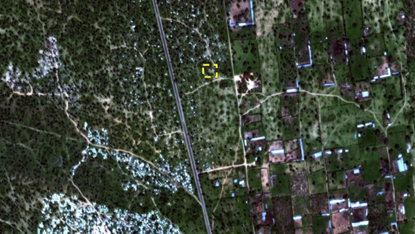 After comparing satellite images before and after Dec. 11 with video footage, Amnesty International has described the area shown in the yellow dotted line as a suspected mass grave site.