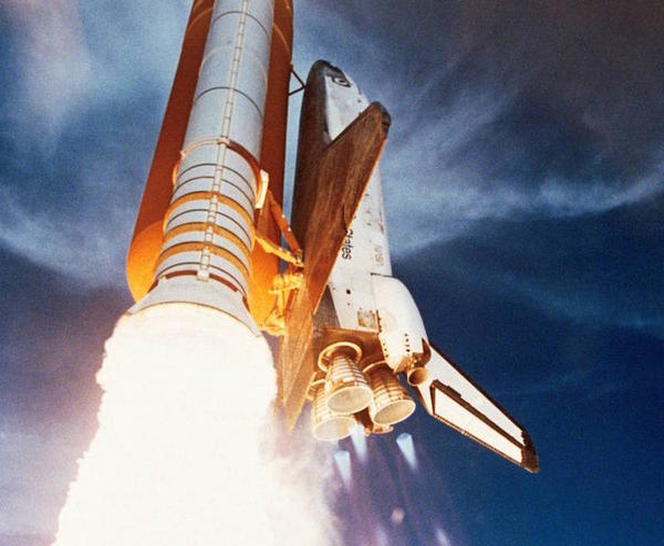 Challenger taking off from the launch pad in 1986.