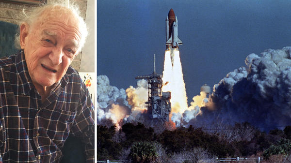 (Left) Bob Ebeling in his home in Brigham City, Utah. (Right) The Challenger lifts off on Jan. 28, 1986, from a launchpad at Kennedy Space Center, 73 seconds before an explosion killed its crew of seven.
