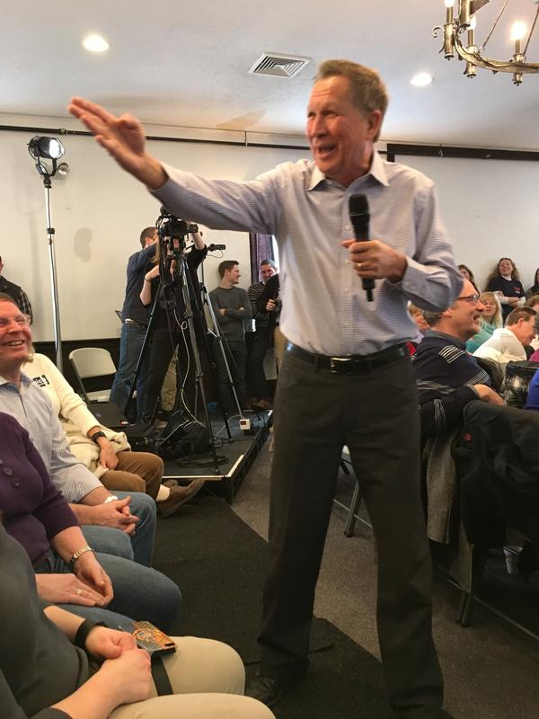 Ohio Gov. John Kasich speaks to voters at a town hall in Merrimack, N.H., on Saturday.