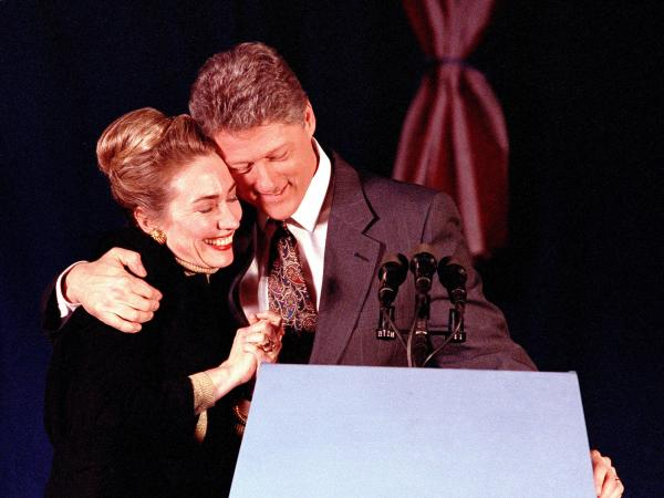 """Bill Clinton hugs his wife Hillary at his election night party in New Hampshire in 1992. Clinton finished second, but after an even worse showing in Iowa, he declared himself the """"comeback kid."""""""