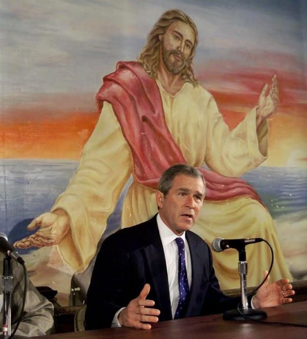 Then-Texas Gov. George W. Bush speaks in front of a painting of Jesus Christ during a campaign stop in Colfax, Iowa in 2000. Bush is the only Republican to win Iowa since 1976 and become president.