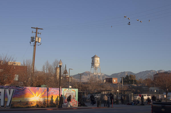 The Road Home is a private nonprofit social services agency that assists homeless individuals and families, in downtown Salt Lake City, Utah. Here, a view from outside.