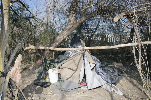 The city's homeless live in encampments like this one in South Salt Lake.