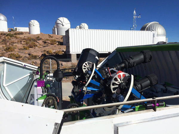 Two of the telescopes in use for the All-Sky Automated Survey for Supernovae in Cerro Tololo, Chile, that discovered the supernova. Since this photo was taken, two more telescopes have been added at the station.