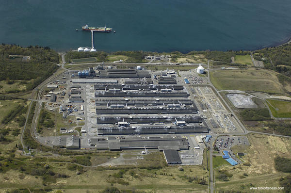 File photo of Alcoa's Intalco Works smelter near Ferndale, Washington, which continues to operate for now.