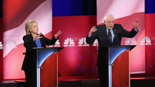 Hillary Clinton and Bernie Sanders appear at the last Democratic presidential debate on Jan. 17 in Charleston, S.C.