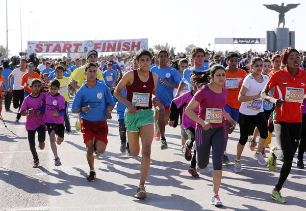 Runners take part in the Baghdad International Marathon, a 7.5-mile race held on Jan. 29. It was the largest international sporting event in Iraq in a generation. While there are more signs of normality in Iraq, the country is still plagued by a host of military, political and economic problems.