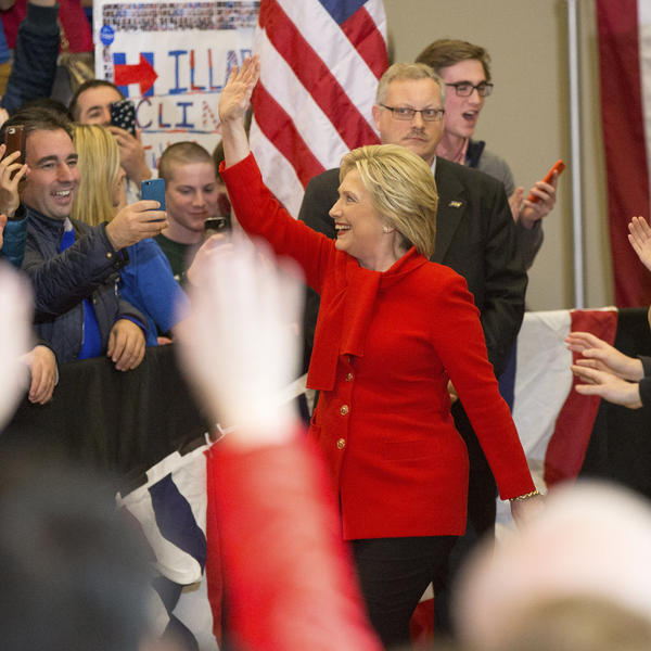 Democratic presidential candidate Hillary Clinton arrives at her caucus night rally at Drake University in Des Moines, Iowa.