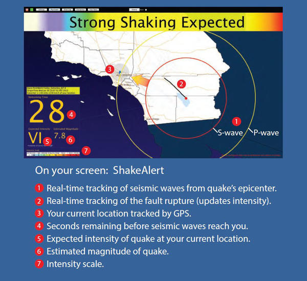 Screenshot of how earthquake early warning that might appear on a smartphone or TV in the future.