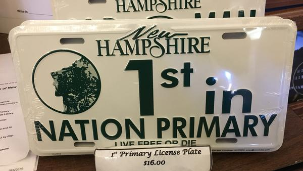 """1st in Nation Primary"" license plates on sale at the New Hampshire State House."
