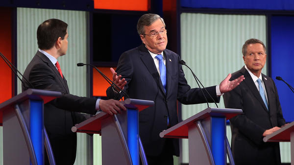 Republican presidential candidates, from right, Ohio Gov. John Kasich, former Florida governor Jeb Bush and Sen. Marco Rubio, R-Fla., participate Jan. 28 in a GOP debate in Des Moines, Iowa. Rubio's strong third-place finish in Iowa has given him momentum and more backing from the same establishment Republicans that Bush and Kasich need for their campaigns to survive.