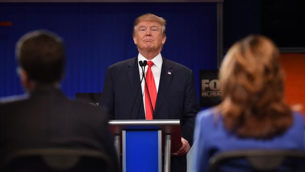 Republican Presidential candidate businessman Donald Trump speaks during a Jan. 14 Republican presidential debate sponsored by Fox Business. Citing disagreements with the network and its moderators, Trump skipped a Fox-sponsored Iowa debate — a decision he says may have hurt him in the caucus results.