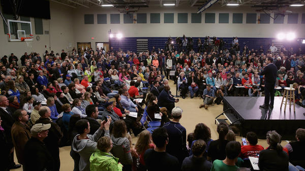 Sen. Marco Rubio holds a rally Feb. 5 at a middle school gym in Derry, N.H. Since his stronger-than-expected finish in the Iowa caucuses, he's climbed to second place in New Hampshire primary polls.
