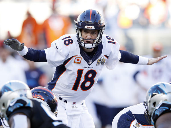 Peyton Manning, in the first quarter of Super Bowl 50.
