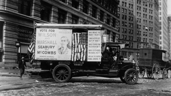An election campaign car, backing incumbent Woodrow Wilson for president in 1916 in New York.
