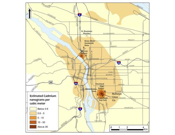 <p>A map of elevated cadmium levels in Portland shows two hot spots. Two glass-makers that use cadmium near these areas have volunteered to stop using the metal in making colored glass.</p>