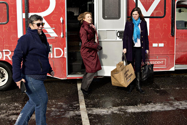 Carly Fiorina arrives at a polling station in Bedford.