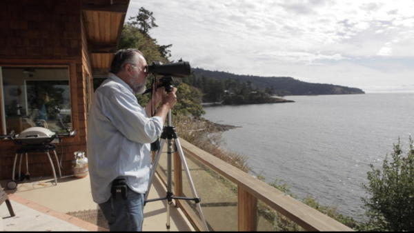 <p>Ken Balcomb, executive director of Center for Whale Research, on the deck facing Haro Strait  (Sept 2014).</p>