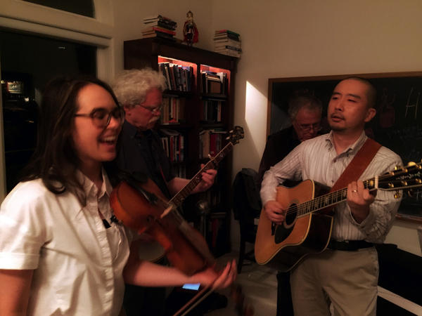 Scientists gathered in rural Washington state to celebrate their discovery, of gravitational waves in spacetime with bluegrass and champagne.