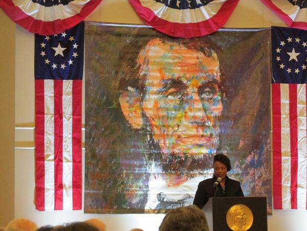 Bernice King addresses the Abraham Lincoln Association in Springfield