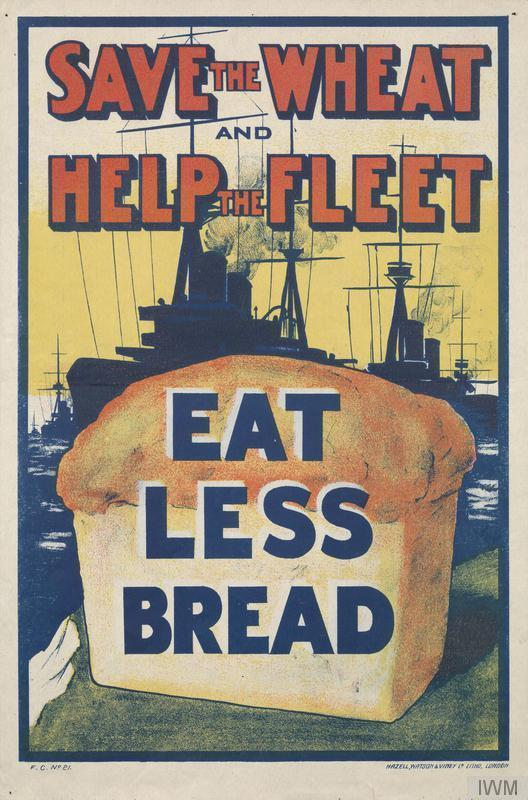 During World War I, ships bringing imported food supplies into Britain were extremely vulnerable to German U-boat attack. By 1917, 400 Allied ships a month were being sunk. Although wheat was imported from new sources, and Britain's own harvest reached record levels, the government actively encouraged economy.