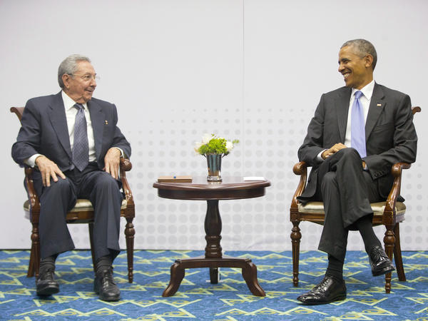 President Obama with Cuban President Raúl Castro during their historic meeting in April 2015 at the Summit of the Americas in Panama City.