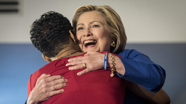 Hillary Clinton, former secretary of state and 2016 Democratic presidential candidate, hugs Geneva Reed-Veal, the mother of Sandra Bland, during a campaign rally in Chicago.