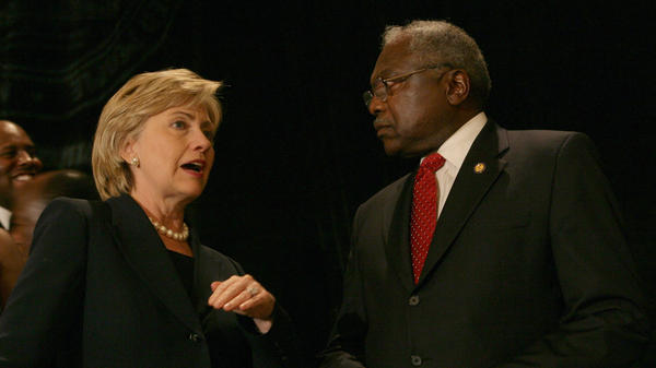 Then-Sen. Hillary Rodham Clinton, D-N.Y., and Rep Jim Clyburn, D-S.C., speak in Charleston in 2007.