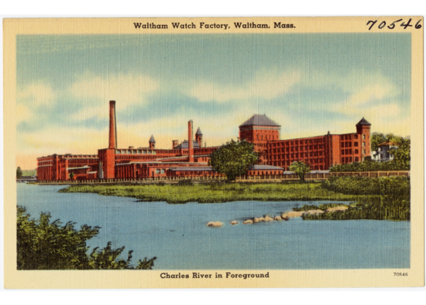 A postcard showing the Waltham Watch Factor circa 1930-'45. (Digital Commonwealth)