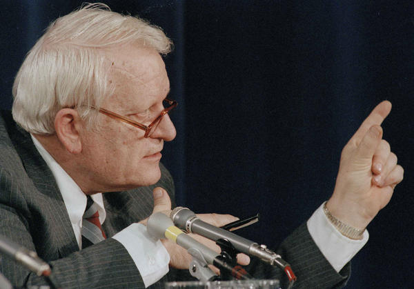 George Hardy speaks during Challenger explosion hearings in Washington, D.C., on Feb. 26, 1986.