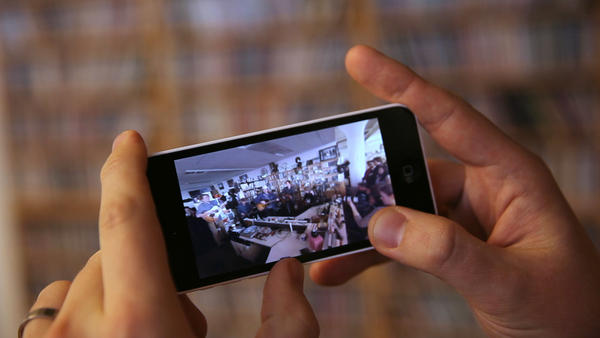 While watching Wilco's VR Tiny Desk, you can turn your phone sideways and slantways and squareways (well, maybe not the last one) until your heart's content.
