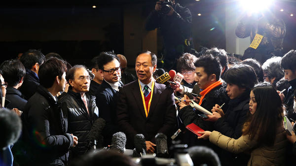 Terry Gou, chairman of Foxconn Technology Group, speaks to media at the Sharp Corp. headquarters in Osaka, Japan, earlier this month. The two companies are in takeover talks.
