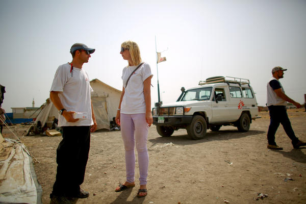 Jorike Schmal (right) and David Twillmann work at the Doctors Without Borders clinic in Bentiu.