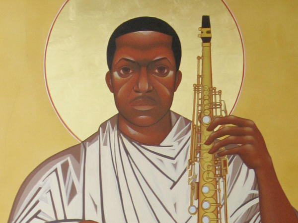 In this 2008 file photo, a painting of John Coltrane stares down from the wall at the Saint John Coltrane African Orthodox Church in San Francisco.