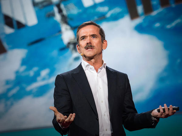 """The scairest thing I've done is ride a rocket ship to space"" — Chris Hadfield"