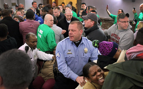 Late last month, a scuffle cut short a St. Louis Board of Aldermen meeting where a committee was to discuss a proposed civilian review board for the city's police force.