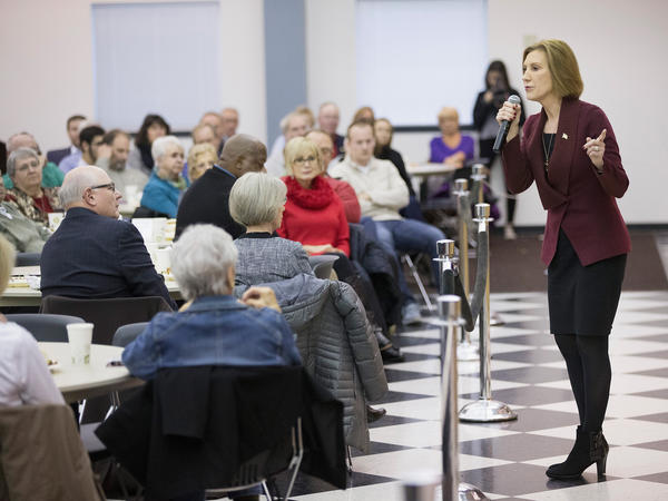 Carly Fiorina at a barbecue in Wilton, Iowa, last November.