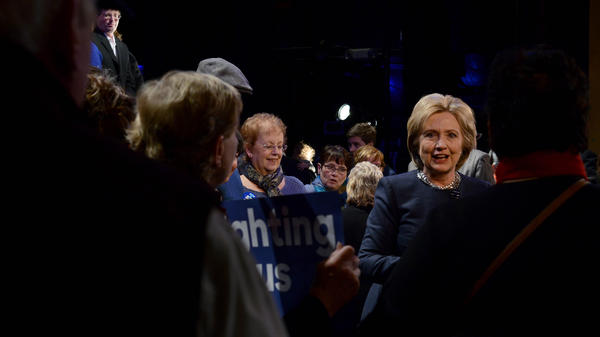 Hillary Clinton greets supporters following a town hall in Rochester, N.H.